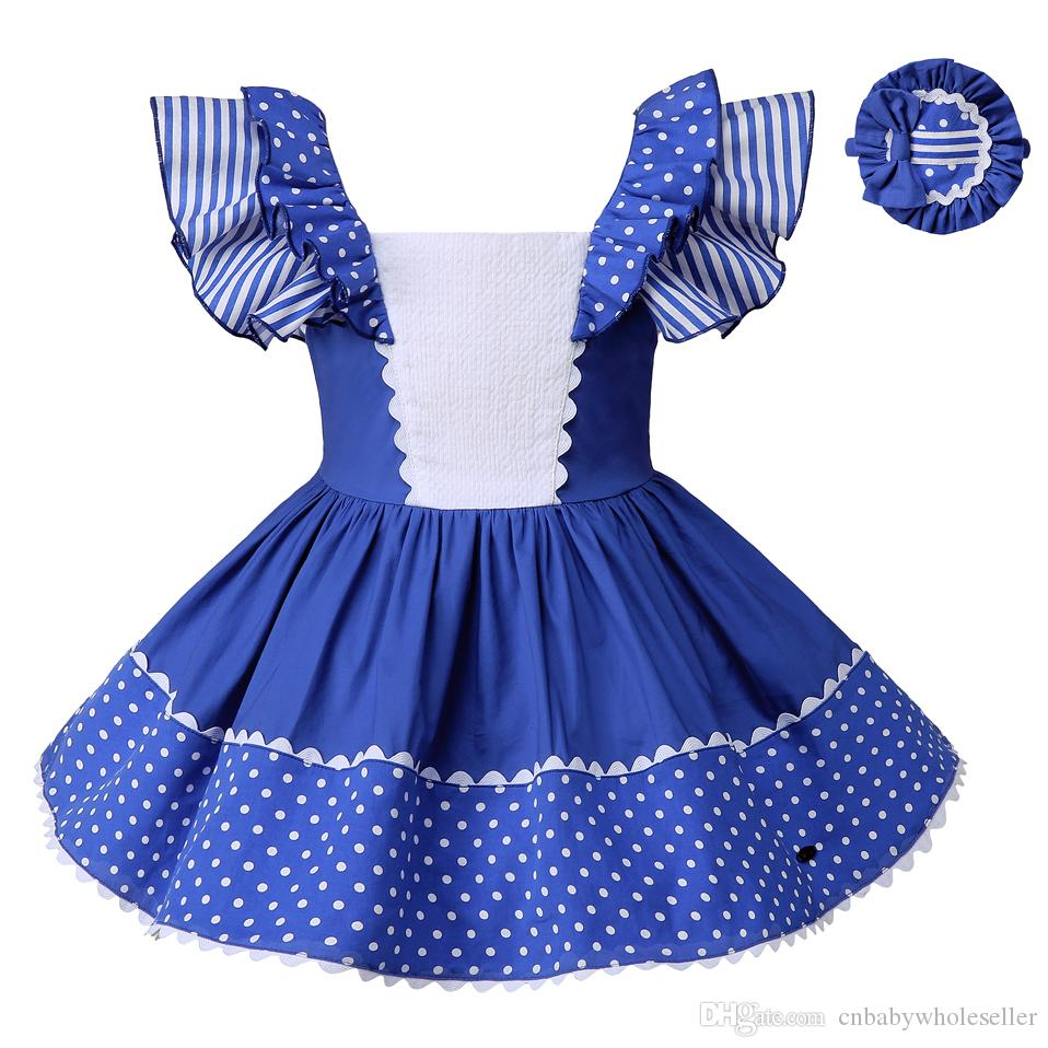 Pettigirl Girls Dresses Stripe Girls Clothes Blue Dots Childrens ... 843ee3e2d8c6