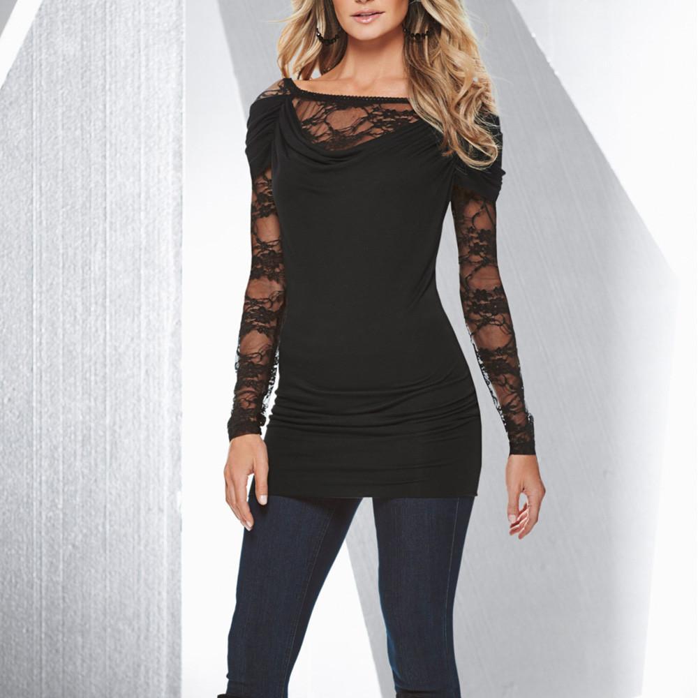 ce9c110b0425f Harajuku 2019 T Shirt Women Long Sleeve Lace Patchwork T Shirt Casual Loose  Cotton Crop Tops T Shirt Camisetas Mujer Best T Shirt Shop Online Cool T  Shirt ...