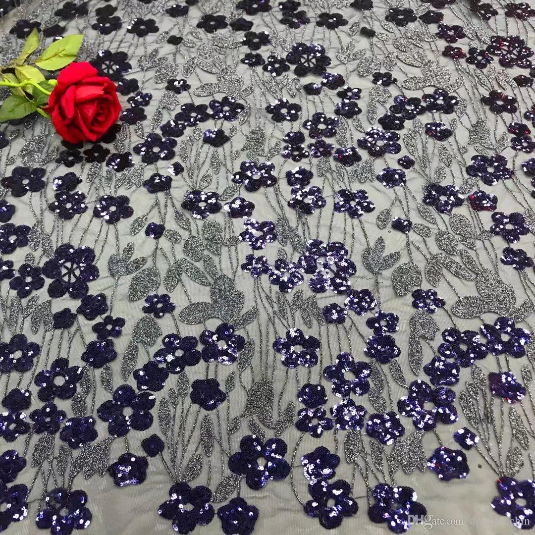 KY1015 красный 2018 5 ярдов / шт. Высококачественное африканское французское чистое кружево фарбик с вышивкой с тяжелыми блестками для вечернего платья