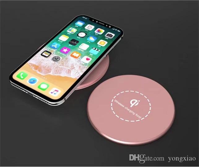 Kd02 qi sem fio rápido carregamento pad inteligente rápido rodada liga de alumínio adaptador de carregador para iphone x 8/8 plus para samsung s8 s7 edge s6