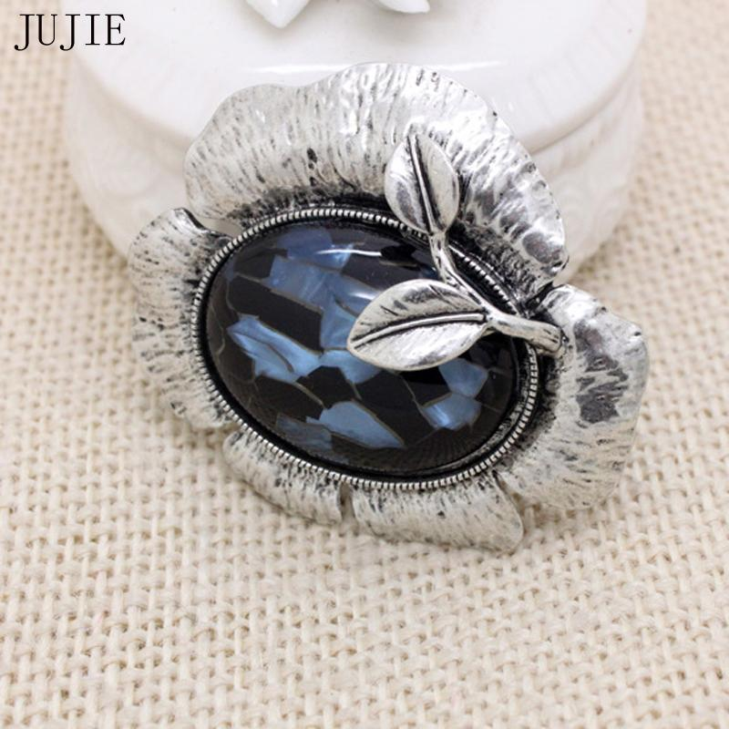 JUJIE Retro Antique Silver Flower Brooches For Women 2018 Vintage Big Resin Brooch Pins Wedding Bouquets Fashion Plant Jewelry
