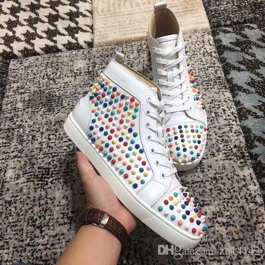242191fb19ea Original Vogue Spikes Red Bottom Sneakers Shoes For Men Women Casual ...