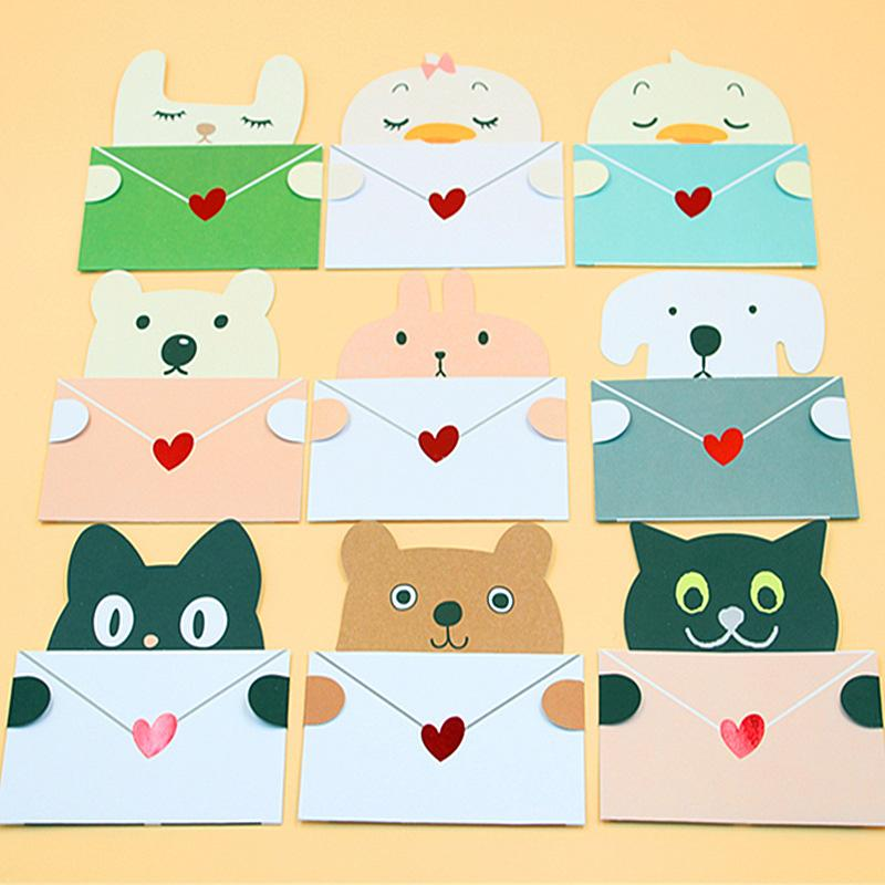 Random Color Cartoon Animal Envelope Message Card Thank Baby Birthday Greeting Holiday Cards Universal Sheet Beautiful