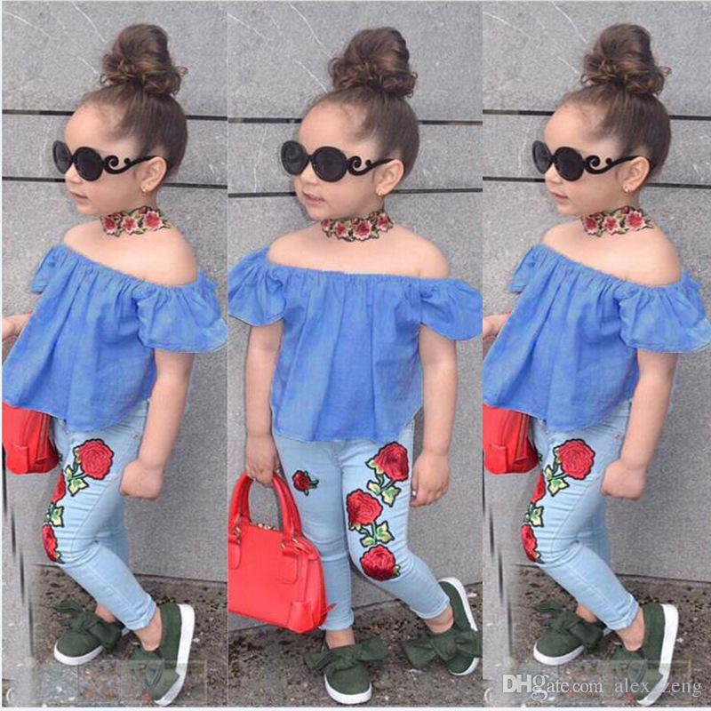 e50a07cd3eb03 2018 Fashion Baby Girl Denim Flower Off Shoulder Tops T-Shirt Rose Flower  Pants 2Pcs Outfits Summer Kids Girls Clothing Boutique Costume