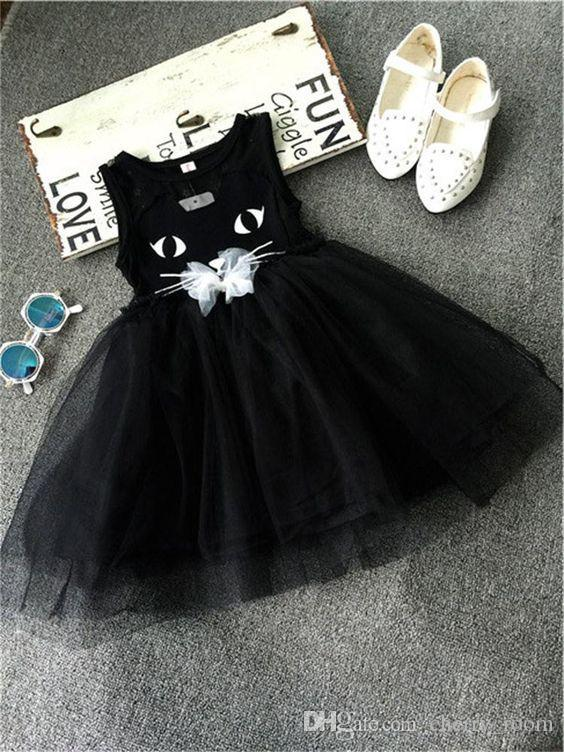 d4aad1314c5d0 2019 2018 New Girls Dress Summer Cartoon Animal Cat Lace Dresses Sleeveless  Lovely Cats Tulle Suspender Dress Tiered Partywear Black A8943 From  Cherry_room, ...