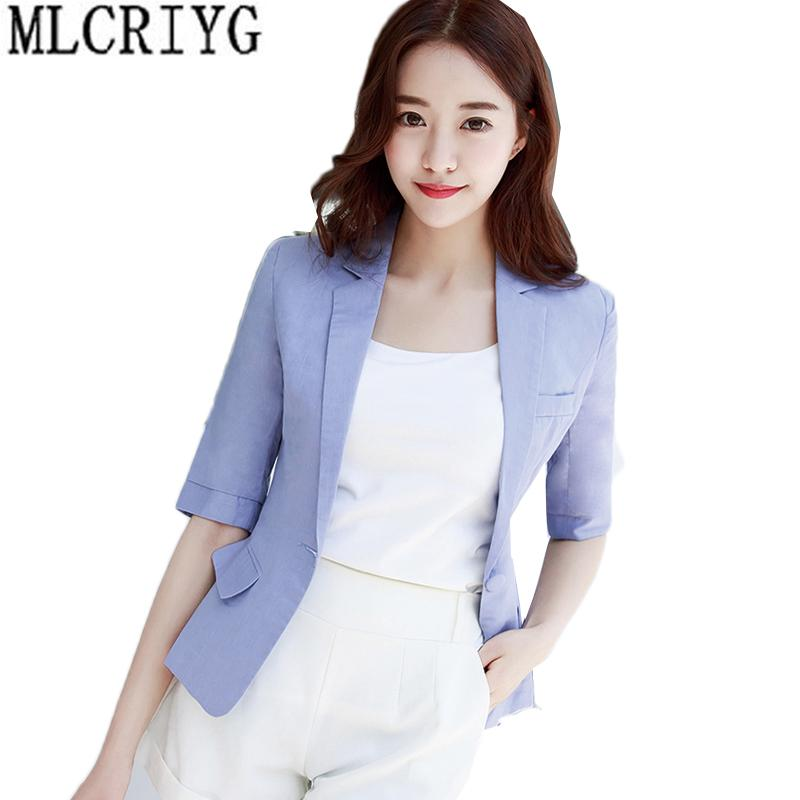 ba54a61b5813 2019 2018 New Plus Size Womens Business Suits Female Linen Blazers Casual  Jackets Short Slim Fit Blazer Women Suit Work Waer LX140 From Ladylbdcloth