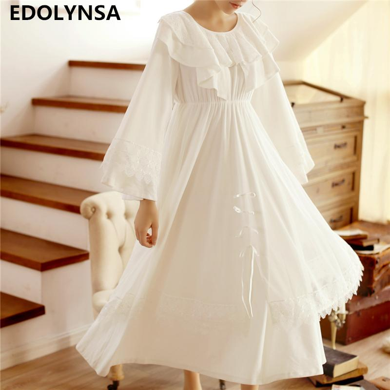 2019 Nightgowns Sleepshirts 2018 Home Dress Nightdress Sleepwear Solid  Sleep Lounge Vintage Nightgown Female Lace Nightwear  H445 From Yukime 59bd8bf6d