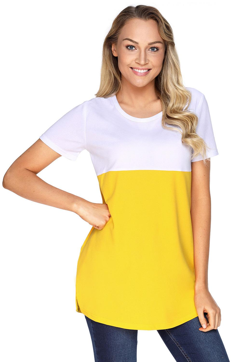 8a86339a535 Summer Women's clothes lady plus size S M L XL XXL t-Shirt modern ladies  Female Mustard White Colorblock Pocket Tunic top 250838