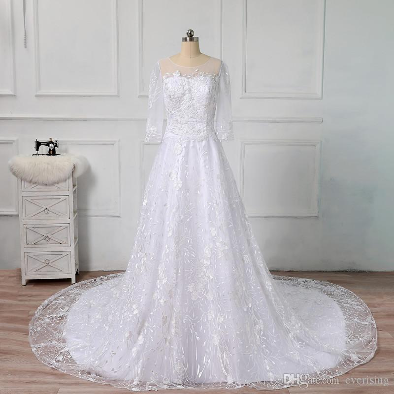 Lace White/Ivory Wedding Dresses 2018 Bride Gown Sexy Vintage A-Line Wedding Gowns China Robe De Mariage