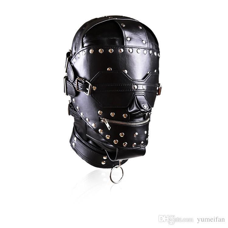 Sex Bondage Fetish Heavy Duty con borchie in pelle Ironman Hood Head Restraint Mask SM Dungeon Gear Prodotti del sesso