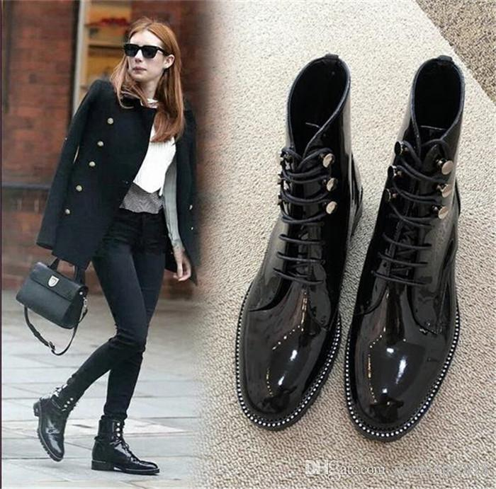New autumn women pointed toe fashion lace -up ankle boots patent leather flat black martin boots