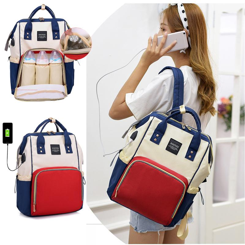 13392a41e7 2019 USB Interface Mummy Bag Backpack Large Capacity WaterProof Baby Diaper  Bag Maternity Carry Bolsa Luiertas For Baby Care From Oliveer