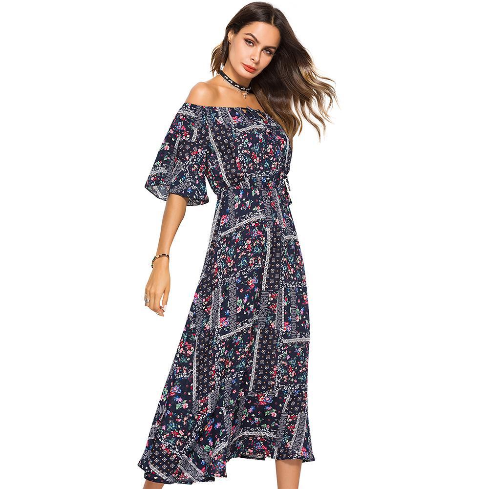 03b21063a8224 Floral Print Women Long Dress Summer Sexy Off Shoulder Button Bohemian  Dress Club Party Casual Elegant Beach Maxi Dresses 2018