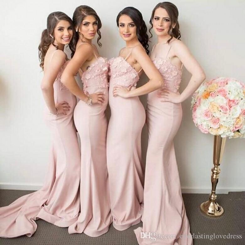 Piso de longitud Slim Fit 3D apliques de encaje floral correas de espagueti rosa sirena vestidos de dama de honor vestidos para madrinhas de casamento