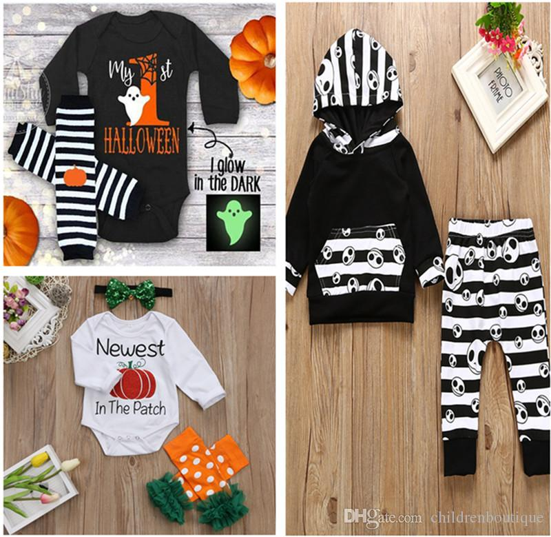 7cf7fb60 2019 Baby Halloween Costumes Kids Clothing Set Newborn Infant Baby Clothes  Pumpkin Skull Letter Printed For Kids Toddler Halloween Party Costumes From  ...