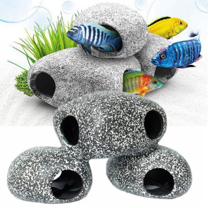 2019 Stone Hideaway Aquarium Decorations Rock Hideout Small Decor