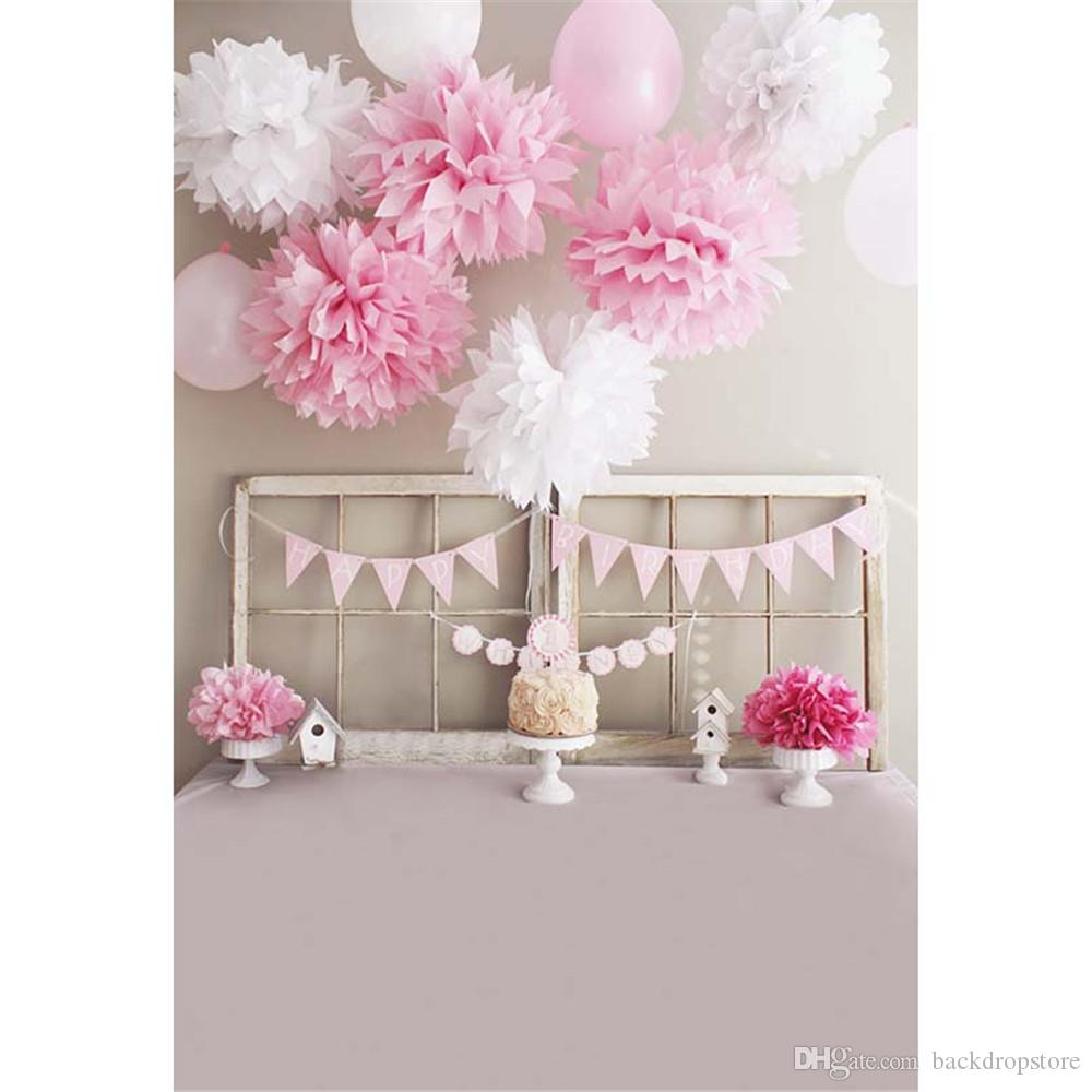 Printed Pink White Paper Flowers Balloons Baby Girl Happy Birthday