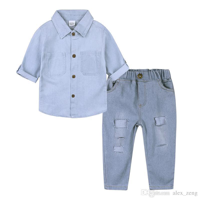 2018 Nueva Moda Baby Denim Sets Niños Ropa Bebés Niñas Ropa Camisas de Manga Larga + Hole Jeans 2 unids / set Trajes de Niños de Alta Calidad