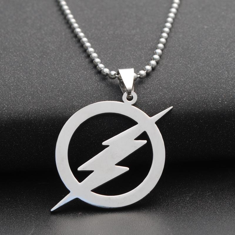 81efd3f34e5aa 10pcs/lot Stainless Steel Zeus Lightning Bolt Necklace The Flash Logo  Neckalce Barry Allen Inspired Necklace The Fastest Man Alive