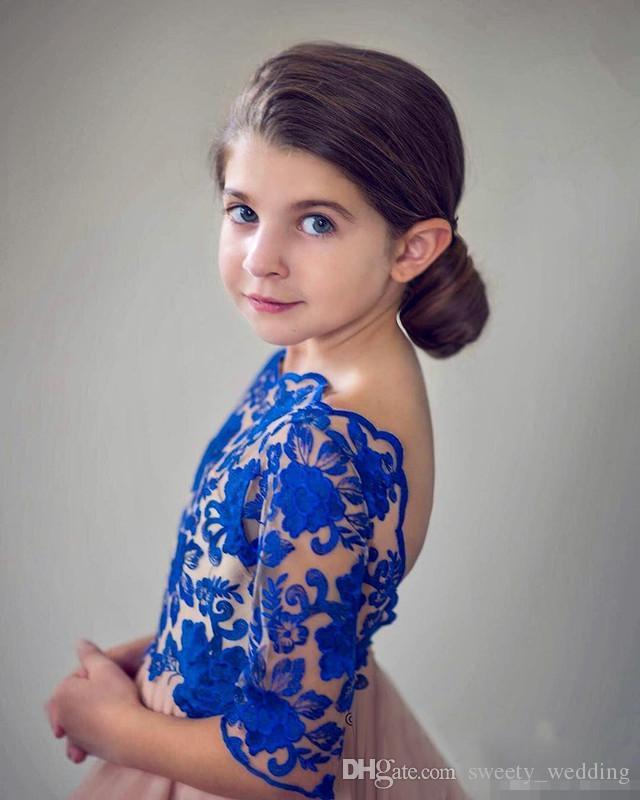Princess Royal Blue Flower Girls Dresses For Weddings Designer Backless Lace Appliqued Ruffles Kids Formal Wear Little Baby Communion Dress