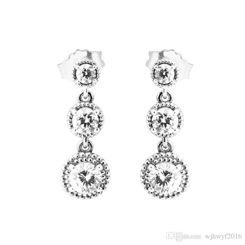 5f3e94e05 2019 2018 New Clear CZ Crystal Eternal Elegance Earrings 100% 925 Sterling  Silver Sparkling Earrings For Women Wedding Gift Fine Pandora Jewelry From  ...