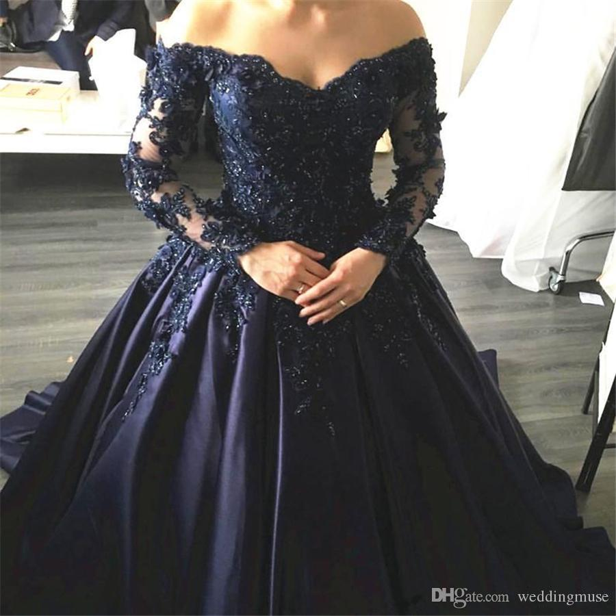 fbd4e78f5f1 Navy Blue Lace Appliques Long Sleeves Prom Dress Ball Gowns Off Shoulder  Crystals Evening Dress Party Dress Formal Gowns Prom Dresses Glasgow Prom  Dresses ...