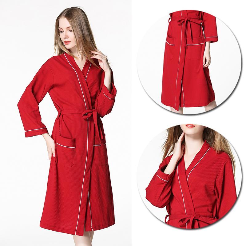 2018 Bathrobe Men And Women Pajamas Nightgown Cotton Dressing Gown ...