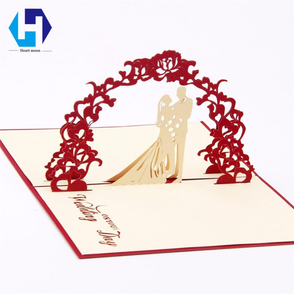 Valentines Day 3d Pop Up Greeting Cards Laser Cut Wedding Invitations Lovers Postcards Hollow Handmade Kirigami Gifts Mariage