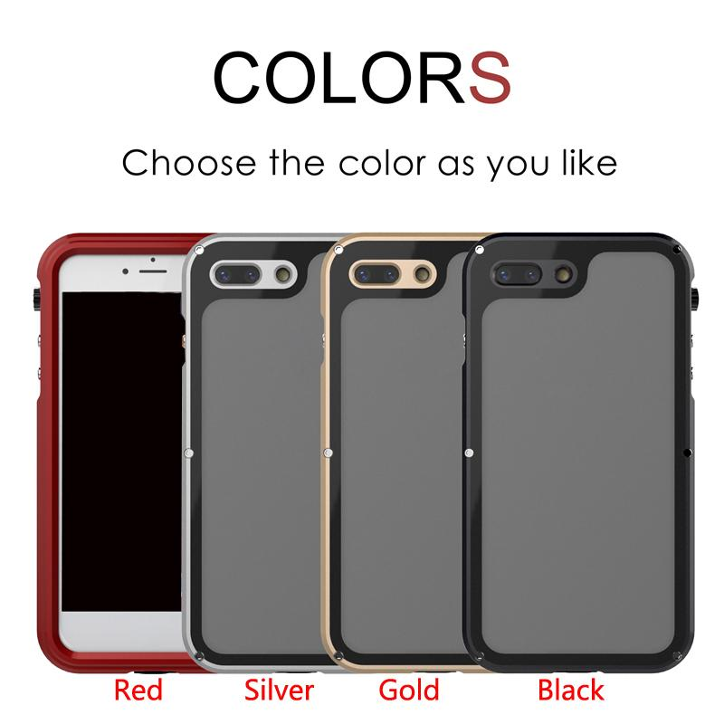 2018 Newest IP68 Waterproof Armor Case For iPhone X Metal Aluminum + Acrylic Diving Phone Case Cover for iphone 7 7plus 8 8plus