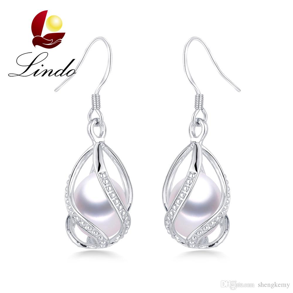 Hot Selling 100% Natural Freshwater Pearl Drop Earrings Elegant 925 ... 061a36b82d40