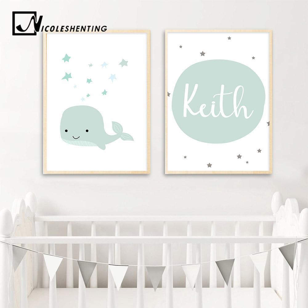 Benutzerdefinierte Name Poster Baby Kinderzimmer Wandkunst Leinwand Malerei Cartoon Whale Print Nordic Kinder Dekoration Bild Jungen Schlafzimmer