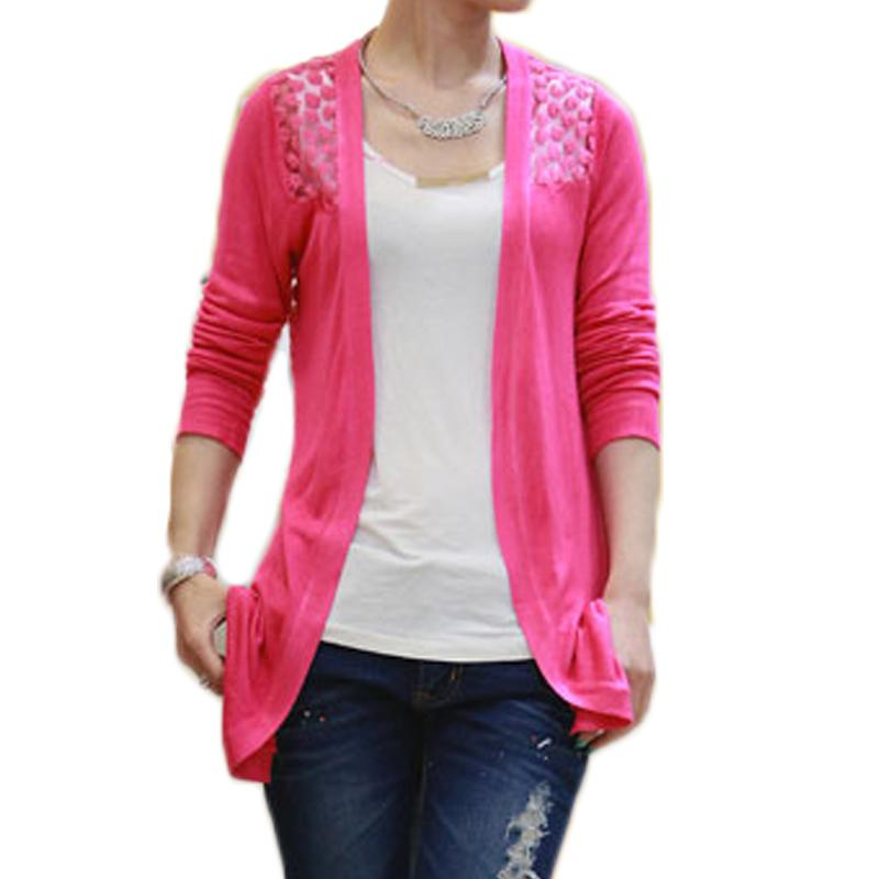 2019 Knitted Lace Cardigan Crochet Women Sweaters Sexy Blusas