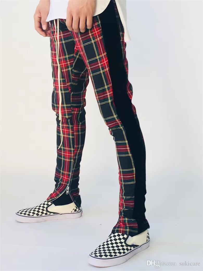 7b655eabbfb550 Acquista Scozia Plaid Jogger Pantaloni Uomo Abbigliamento Primavera Autunno  Nero Rosso Plaid Pantaloni Casual Pantaloni FOG A $61.19 Dal Sukicare |  DHgate.