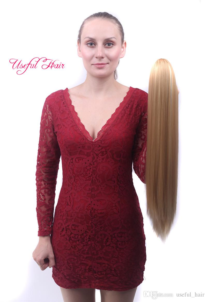 OMBRE DOS TONOS COLOR cola de caballo pinza clip extensión de cabello Extensiones de cabello sintético Cola de caballo 24 '' Clip sintético recto en la extensión del cabello