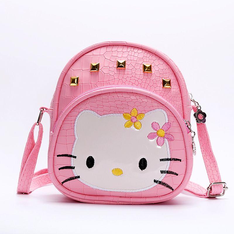 e5d0c956fdb9 Baby Girls Hello Kitty Pink 2018 HandBags Kids Cat Bag Crocodile Rivet Kids  Girl Handbags PU Crossbody Messenger Bags Small Ladies Backpack Backpacks  For ...