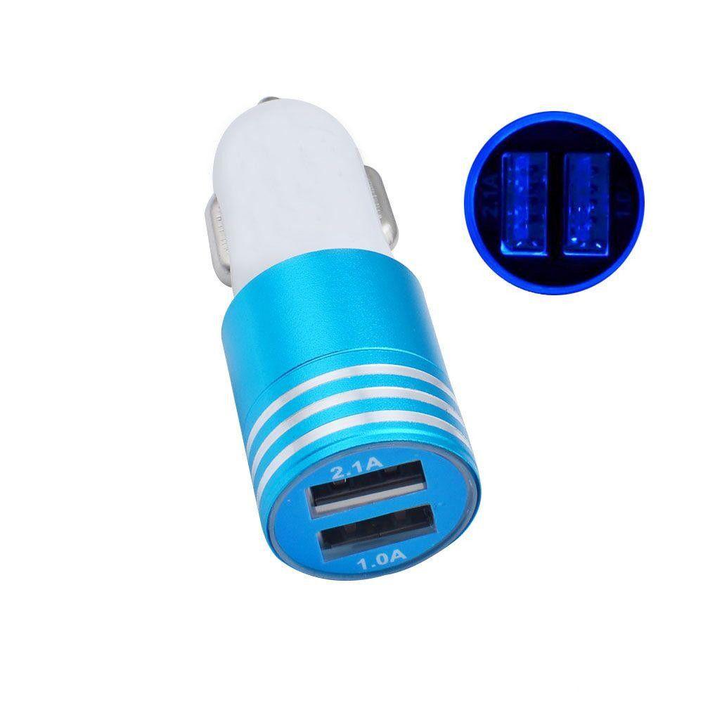 2.1A + 1A Алюминиевый сплав 2 порта USB LED Light Автомобильное зарядное устройство USB автомобильное зарядное устройство для iphone x 8 7 для Samsung s9 s8