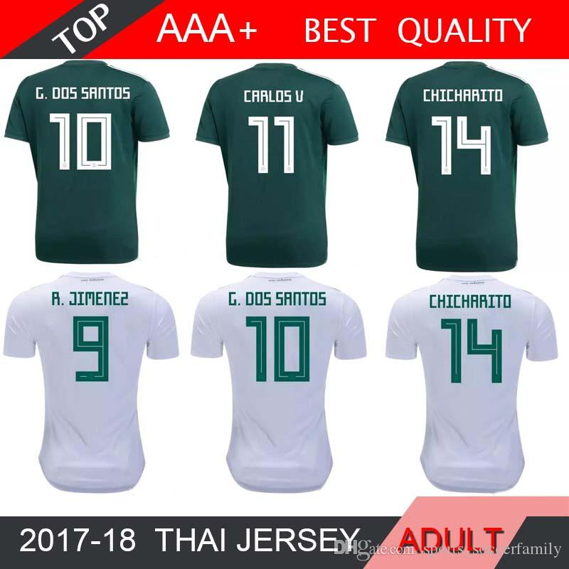 9a24fc95448 2018 World Cup Mexico Soccer Jersey Home 18 19 Green Away White ...