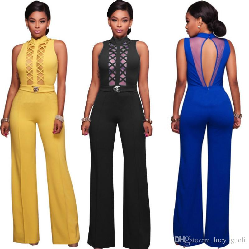 f03b8c73eda1 2019 Sexy Deep V Neck Lace Up Bodycon Jumpsuit Romper Womens Jumpsuit Tops  Elastic Slim Short Sleeve Jumpsuit Women Black Long Bodysuit Jumpsuits From  ...