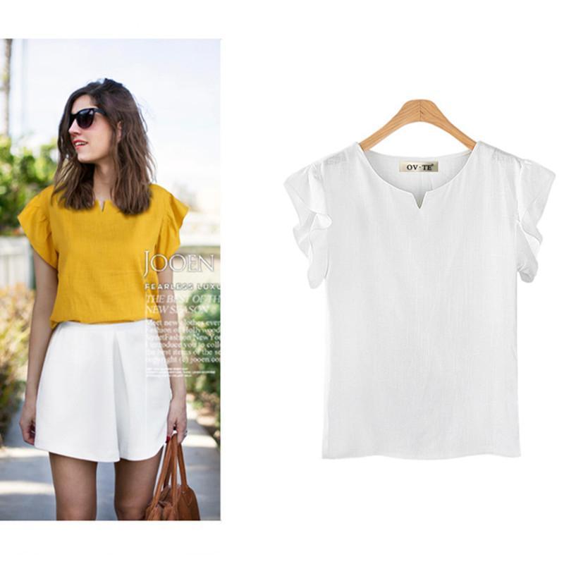 cd7daefa747 2019 Women Blouses Shirt Cotton Linen Summer Ladies Tops Short Sleeve  Casual Shirts White Khaki Yellow Female Clothing Plus Size From Erzhang