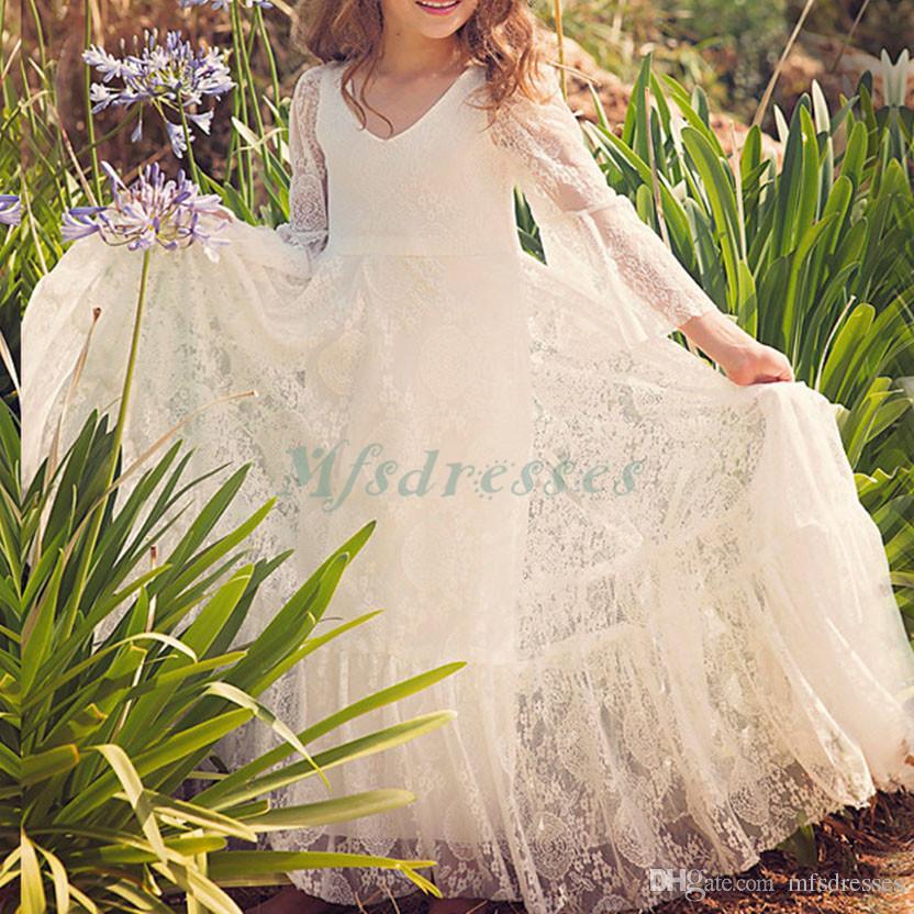 Nueva princesa blanca 3/4 mangas vestidos de niña de las flores hasta el tobillo vestido de desfile de niñas Vestidos de fiesta de cumpleaños para niñas
