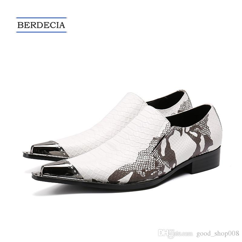 f063f9ef02e 2018 Luxury Fashion Print Men Formal Shoes White Genuine Leather Metal  Pointed Toe Dress Shoes Business Party Shoes Plus Size 38 47 Loafer Shoes  Shoes Uk ...