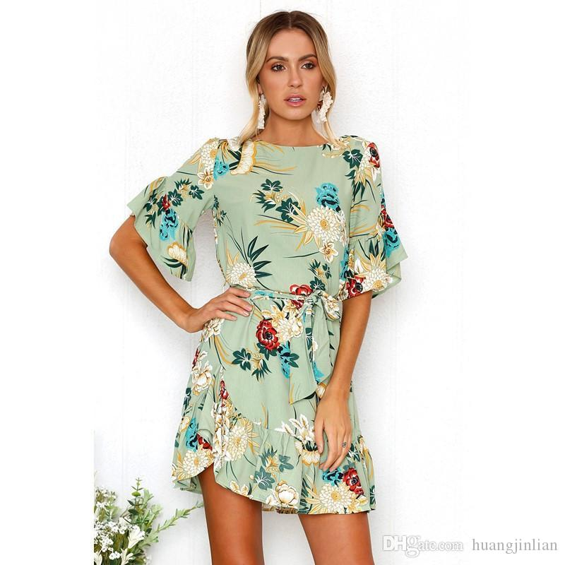 986c925c60f Großhandel Sommer Frauen Floral Minikleid Rüschen Kleid Rundhals Kurzarm  Kleid Mit Gürtel Für Mädchen Von Huangjinlian