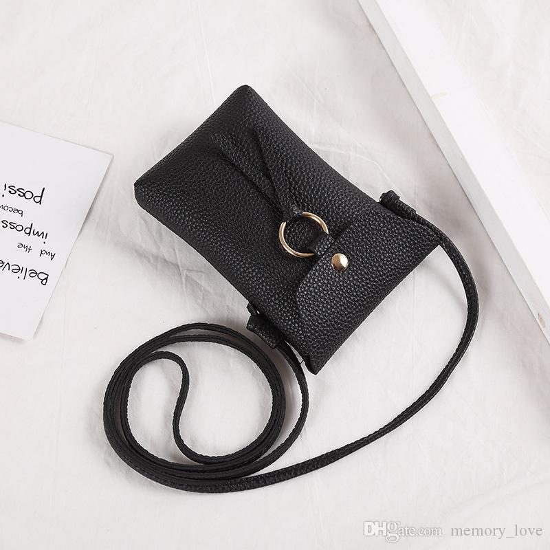 RTS Wholesale Lichee Pattern Lanyard neck strap card holder Name Credit Card purse coin purse Shoulder bag