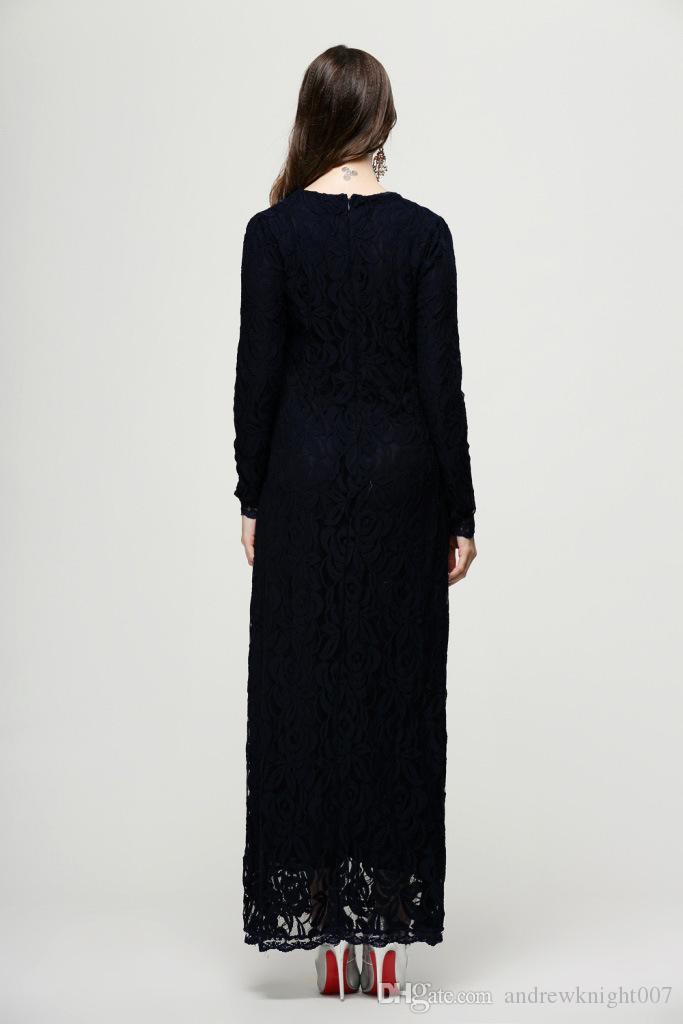 Lace Muslim Arabische gewaden Mode Vrouwen Islamic Abaya Kaftan Jurk Lange Mouw Dames Maxi Jurk Groen Zwart Roze