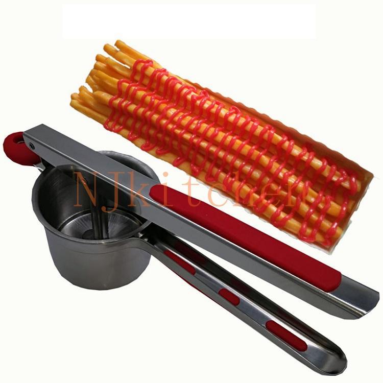 Livraison gratuite en acier inoxydable 20cm 30cm super longue machine à frites distributeur longue pomme de terre formant la machine footlong machine à frites machine