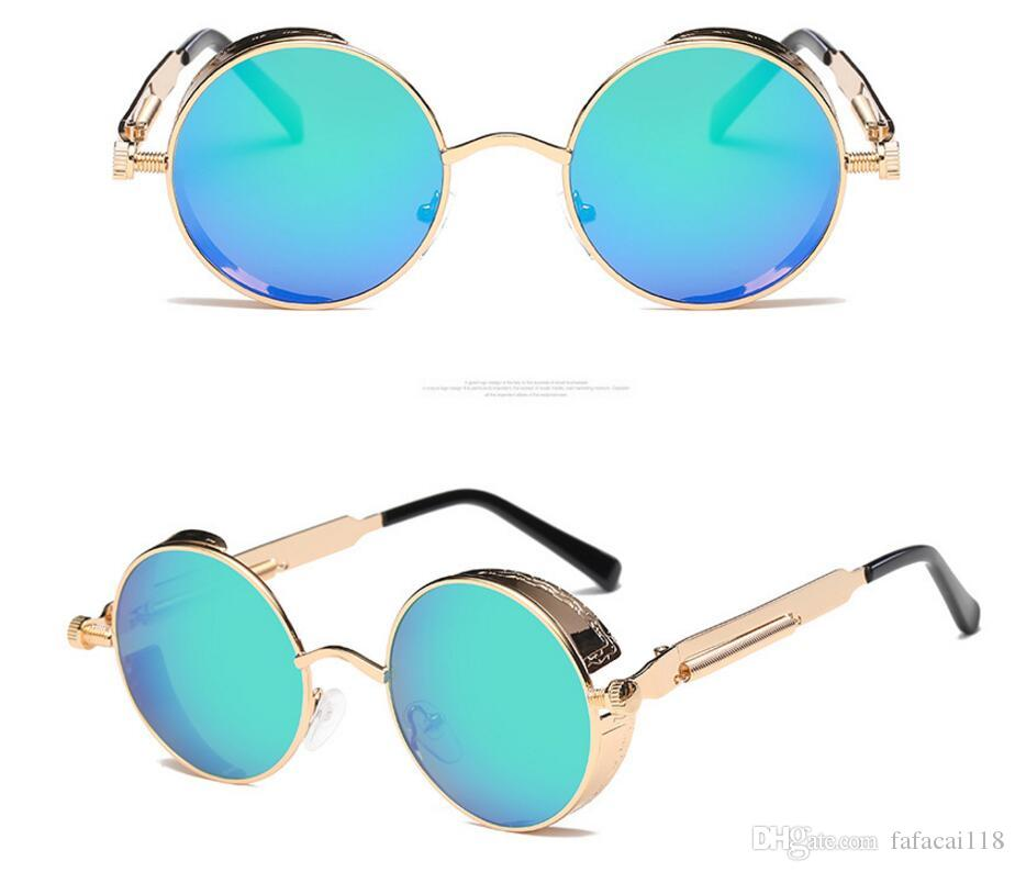 3241c5ac67 High Quality UV400 Gothic Steampunk Mens Sunglasses Coating Mirrored  Sunglasses Round Circle Sun Glasses Retro Vintage Gafas Masculino 8825  Online with ...