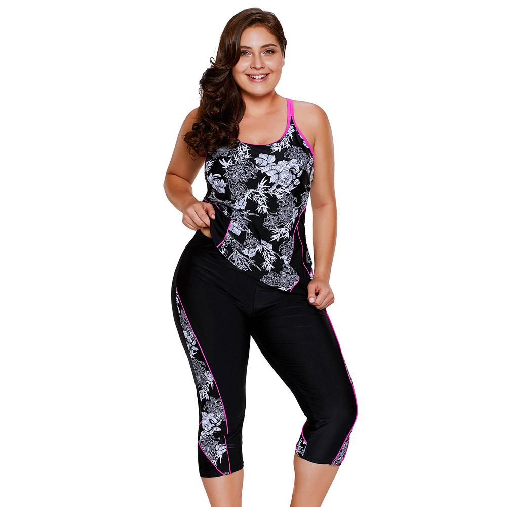 44957d56b95c5 2019 Plus Size Swimwear Women Print Tankini Top And Sport Cropped Pants  Fitness Two Piece Beach Wear Bathing Suits From Jf888jf