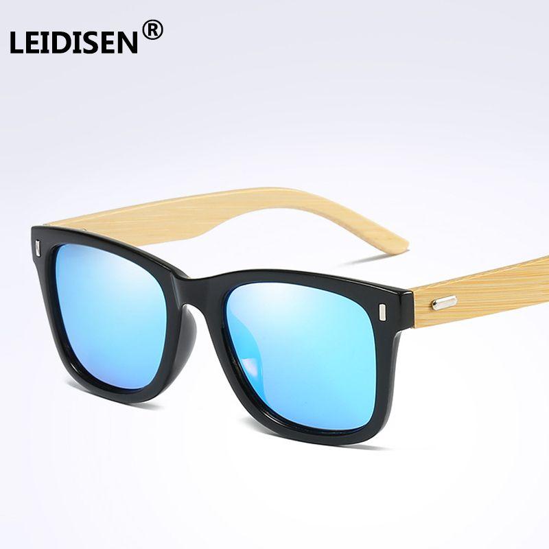 77262c0f232 LEIDISEN 2018 Fashion Bamboo Wood Sunglasses Polarized Men Women Brand  Designer Goggles Coating Mirrored Eyewear UV400 Prescription Glasses Online  Round ...