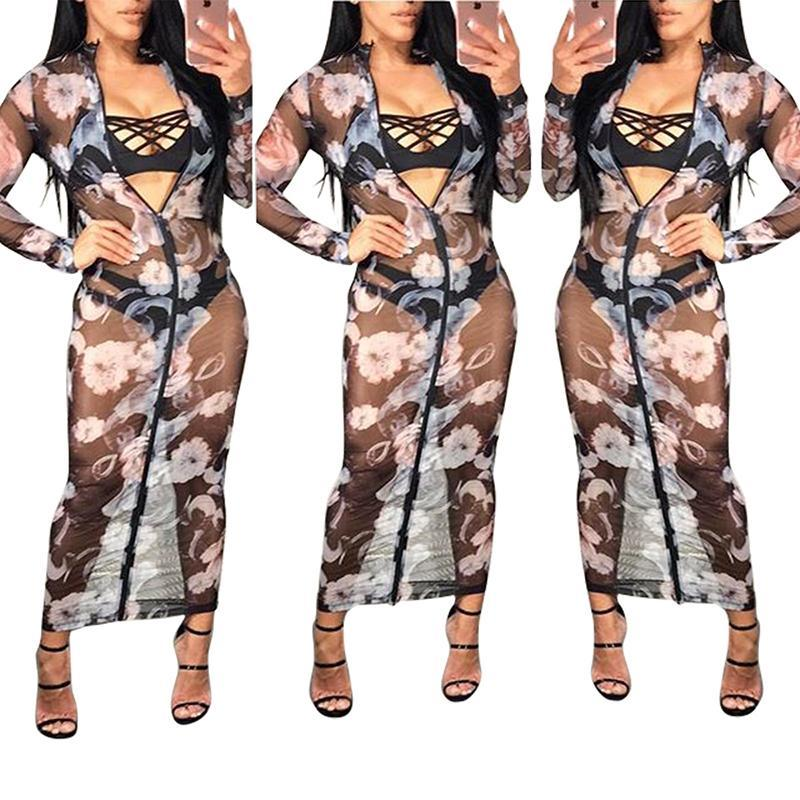 b6f506de67 2019 NEW HOT 2018 Net Yarn Black Sexy Dress Slim Transparent Beach Cover Up  Zipper Transparent Printing Bodycon Club Party Dress From Sexystores520, ...