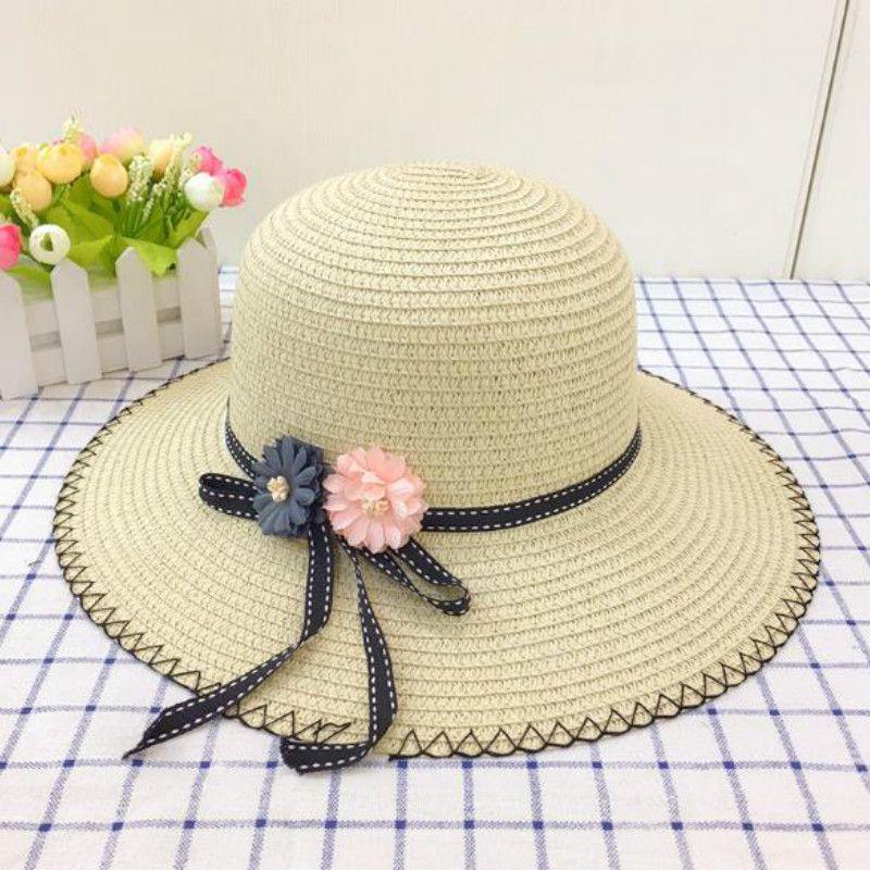 86619e25450 2018 Flat Straw Hat Girls Bow Summer Hats Women Beach Panama Sun ...